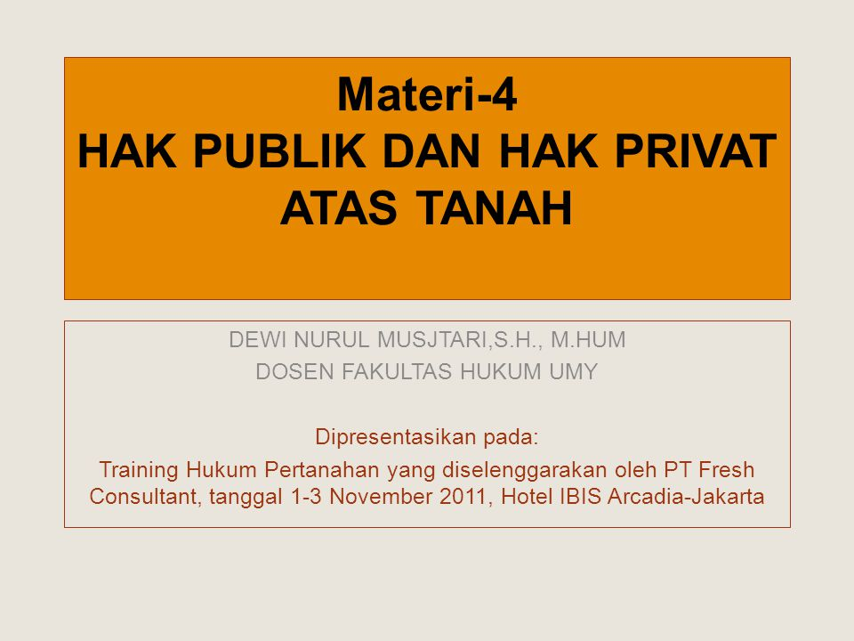 Materi-4 HAK PUBLIK DAN HAK PRIVAT ATAS TANAH