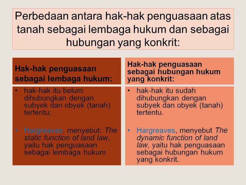Perbedaan antara hak-hak penguasaan atas tanah sebagai lembaga hukum dan sebagai hubungan yang konkrit: