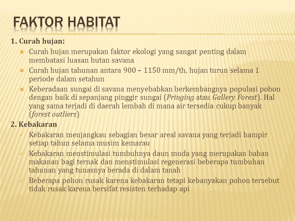 Faktor habitat 1. Curah hujan: