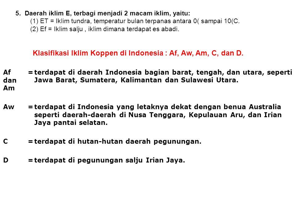 Klasifikasi Iklim Koppen di Indonesia : Af, Aw, Am, C, dan D.