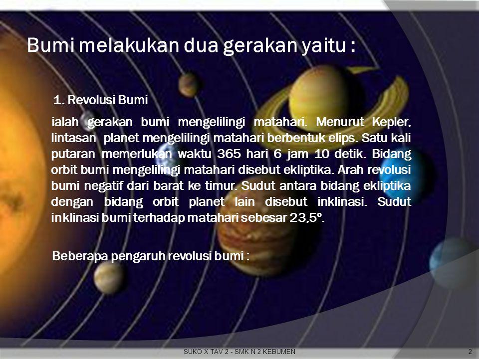 Bumi melakukan dua gerakan yaitu :