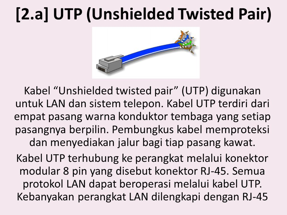 [2.a] UTP (Unshielded Twisted Pair)