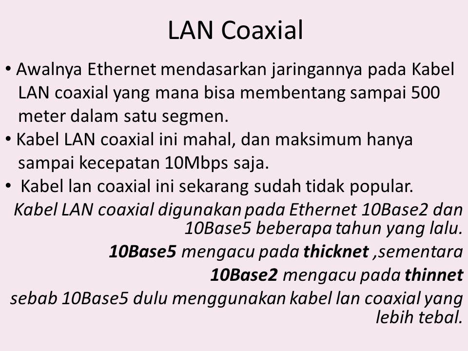 LAN Coaxial Awalnya Ethernet mendasarkan jaringannya pada Kabel
