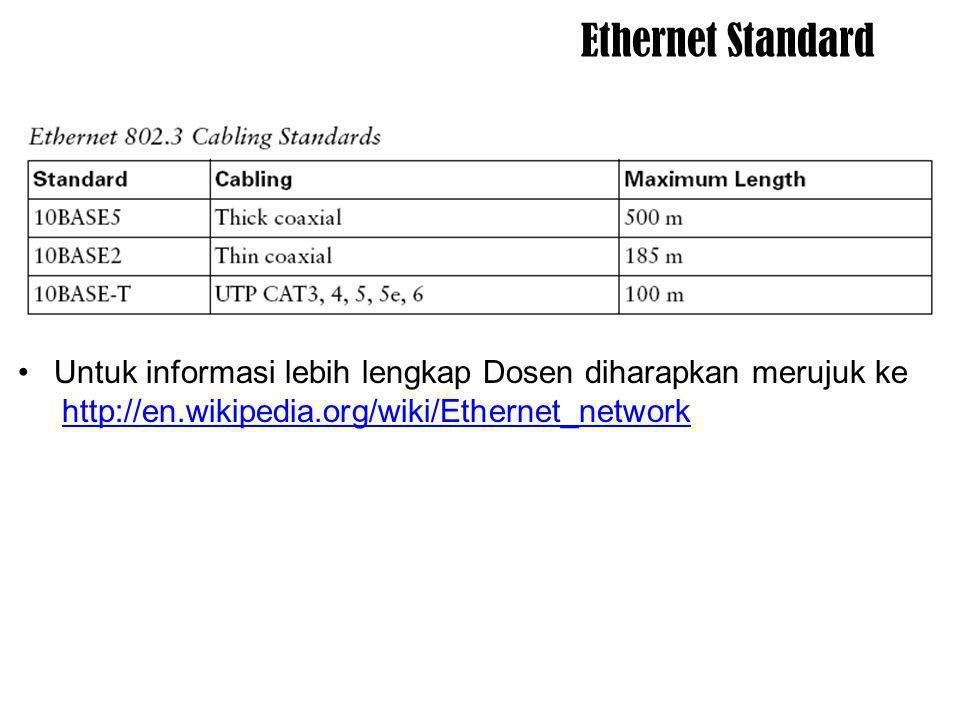 Ethernet Standard Untuk informasi lebih lengkap Dosen diharapkan merujuk ke.