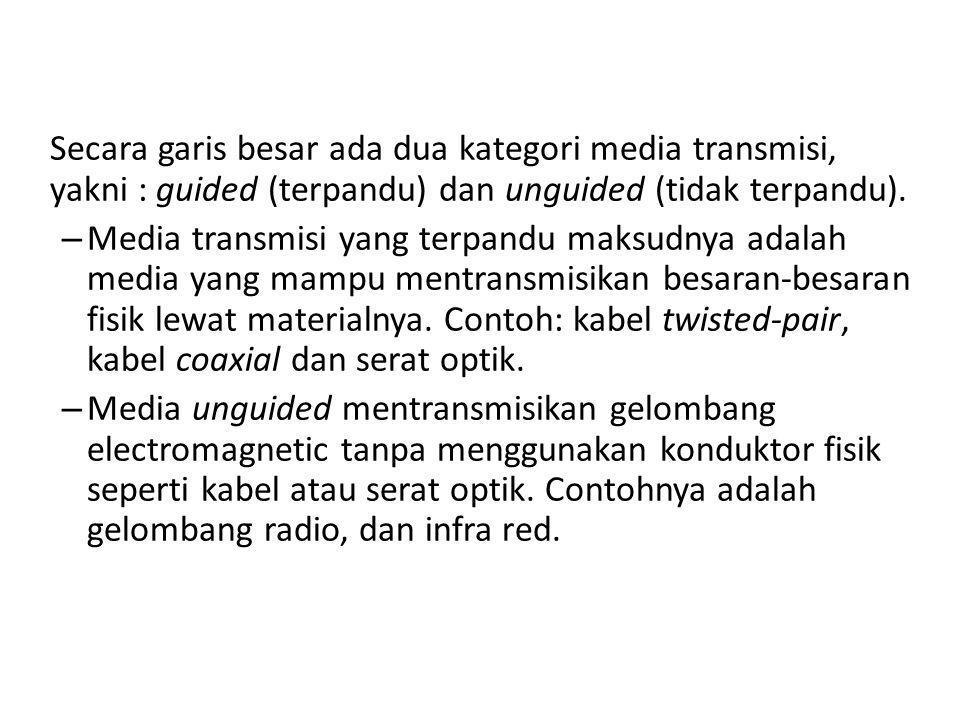 Secara garis besar ada dua kategori media transmisi, yakni : guided (terpandu) dan unguided (tidak terpandu).