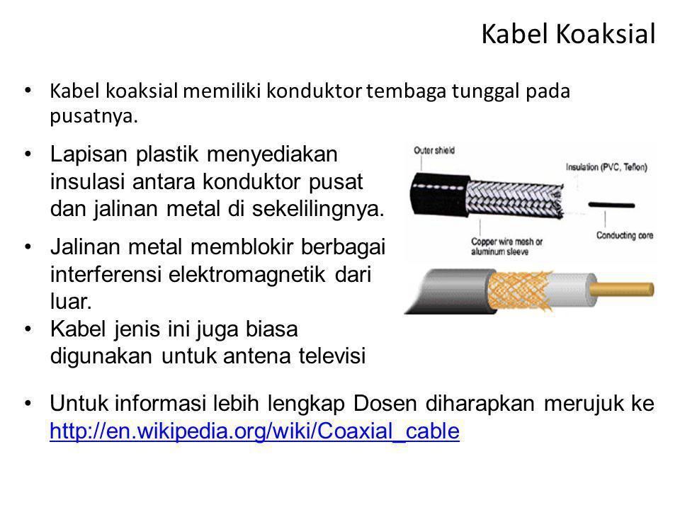 Kabel Koaksial Kabel koaksial memiliki konduktor tembaga tunggal pada pusatnya.