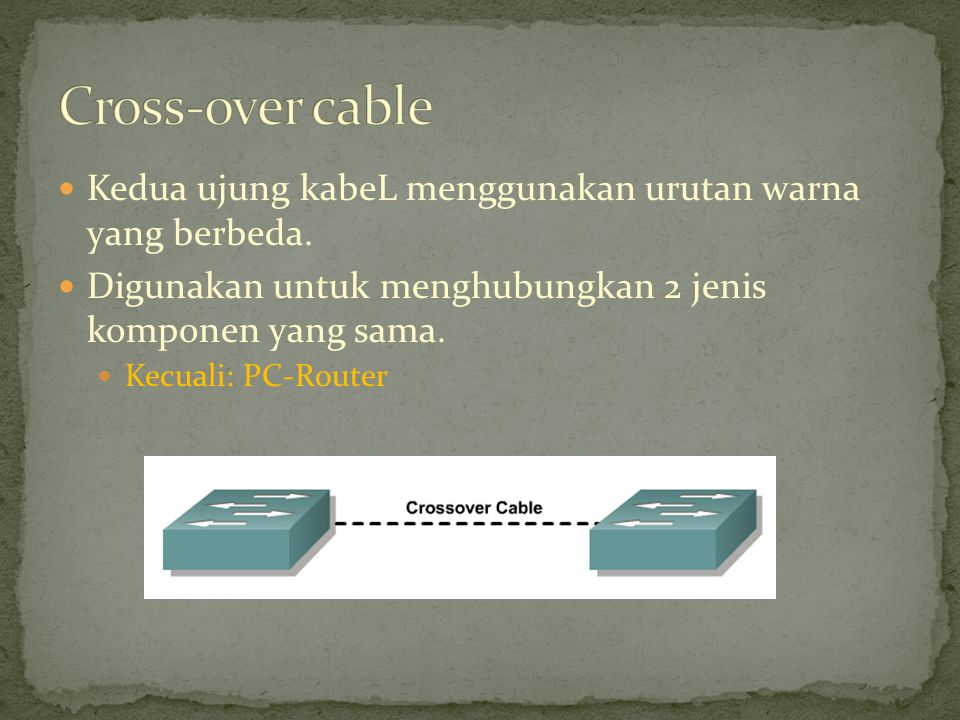 Cross-over cable Kedua ujung kabeL menggunakan urutan warna yang berbeda. Digunakan untuk menghubungkan 2 jenis komponen yang sama.
