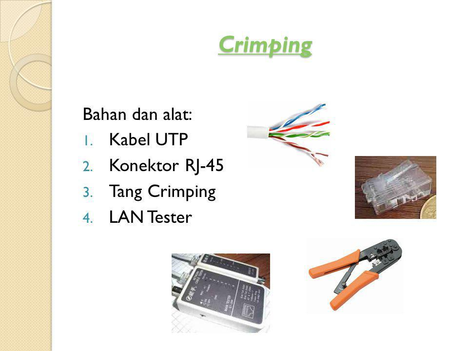Crimping Bahan dan alat: Kabel UTP Konektor RJ-45 Tang Crimping
