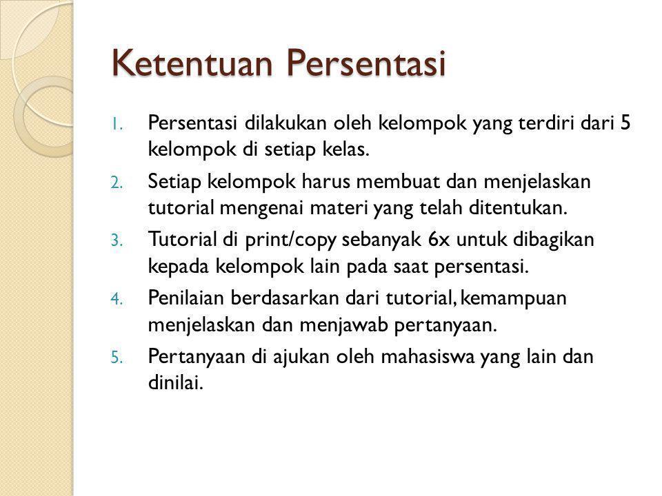 Ketentuan Persentasi Persentasi dilakukan oleh kelompok yang terdiri dari 5 kelompok di setiap kelas.