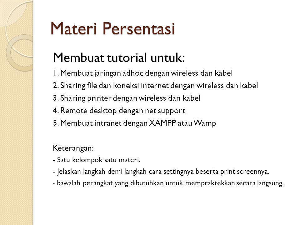 Materi Persentasi Membuat tutorial untuk: