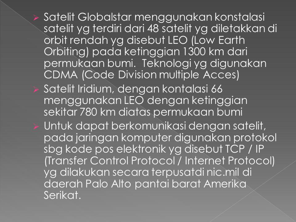 Satelit Globalstar menggunakan konstalasi satelit yg terdiri dari 48 satelit yg diletakkan di orbit rendah yg disebut LEO (Low Earth Orbiting) pada ketinggian 1300 km dari permukaan bumi. Teknologi yg digunakan CDMA (Code Division multiple Acces)