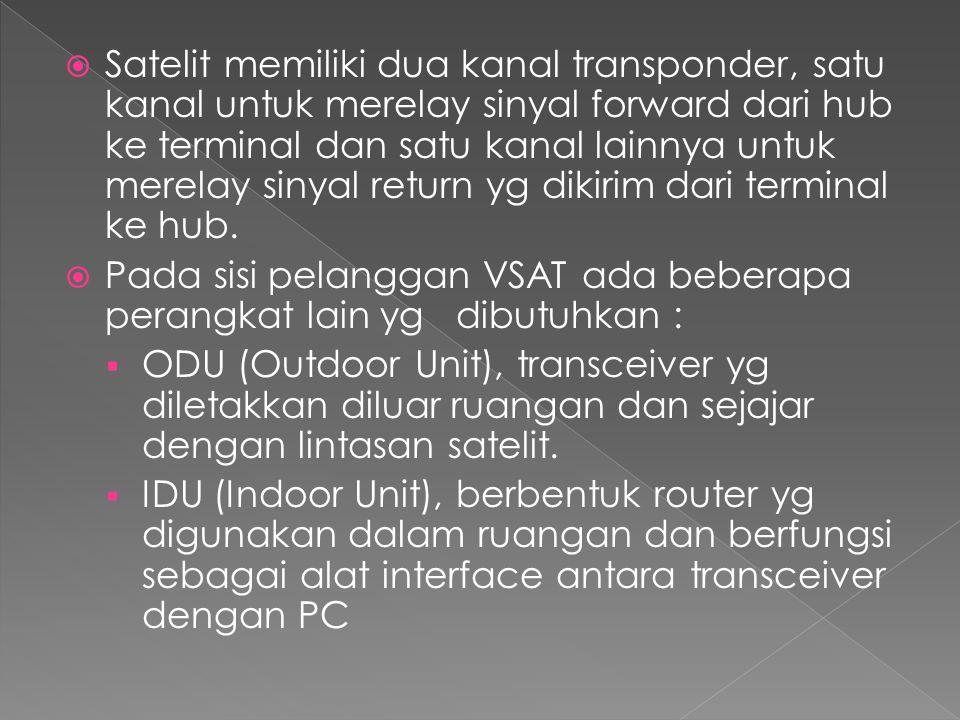 Satelit memiliki dua kanal transponder, satu kanal untuk merelay sinyal forward dari hub ke terminal dan satu kanal lainnya untuk merelay sinyal return yg dikirim dari terminal ke hub.
