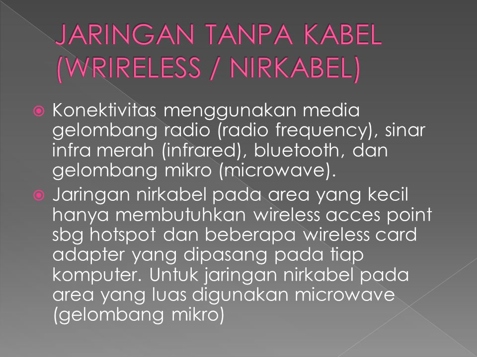 JARINGAN TANPA KABEL (WRIRELESS / NIRKABEL)