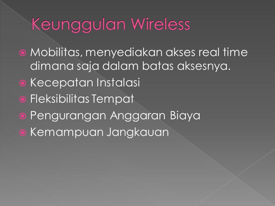 Keunggulan Wireless Mobilitas, menyediakan akses real time dimana saja dalam batas aksesnya. Kecepatan Instalasi.
