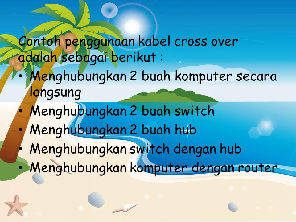 Contoh penggunaan kabel cross over adalah sebagai berikut :