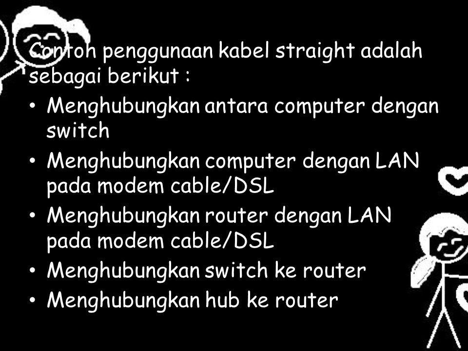 Contoh penggunaan kabel straight adalah sebagai berikut :