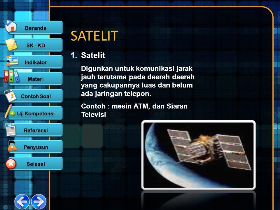 SATELIT 1. Satelit. Digunkan untuk komunikasi jarak jauh terutama pada daerah daerah yang cakupannya luas dan belum ada jaringan telepon.
