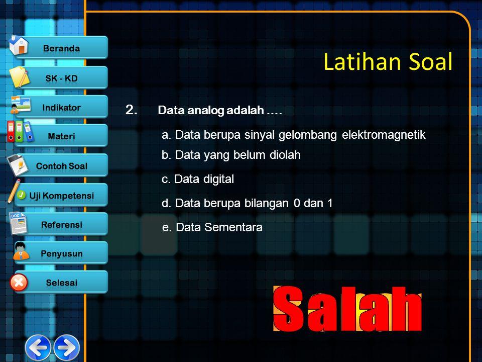 Latihan Soal Salah Salah Benar Salah Salah 2. Data analog adalah ….