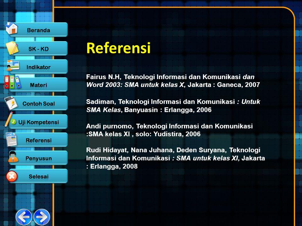 Referensi Fairus N.H, Teknologi Informasi dan Komunikasi dan Word 2003: SMA untuk kelas X, Jakarta : Ganeca, 2007.