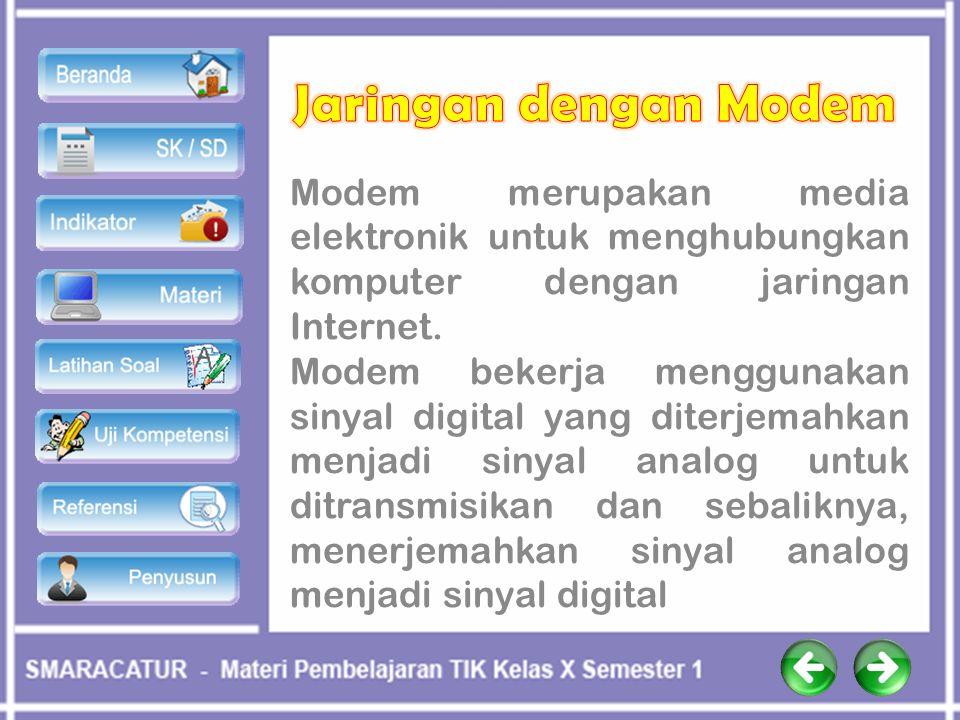 Jaringan dengan Modem Modem merupakan media elektronik untuk menghubungkan komputer dengan jaringan Internet.