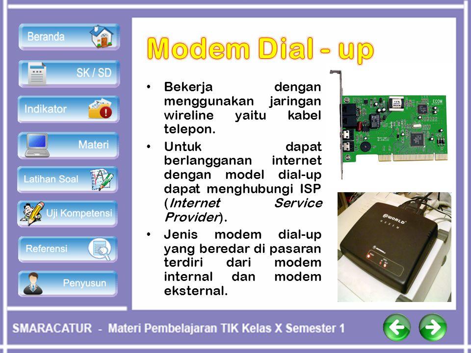 Modem Dial - up Bekerja dengan menggunakan jaringan wireline yaitu kabel telepon.