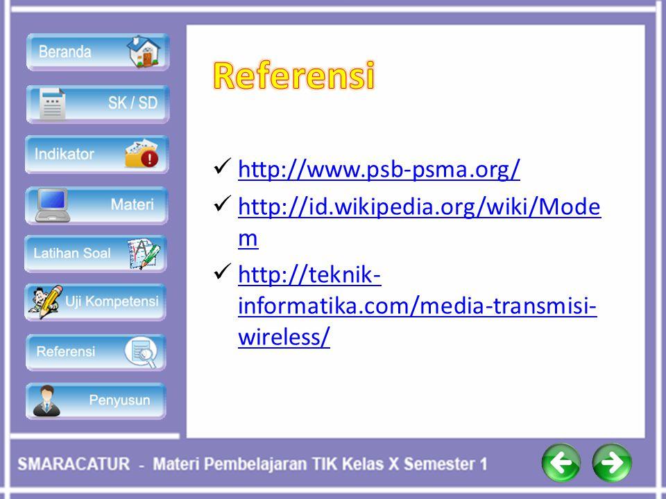 Referensi http://www.psb-psma.org/ http://id.wikipedia.org/wiki/Modem