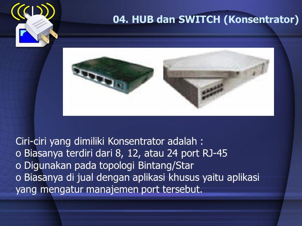 04. HUB dan SWITCH (Konsentrator)