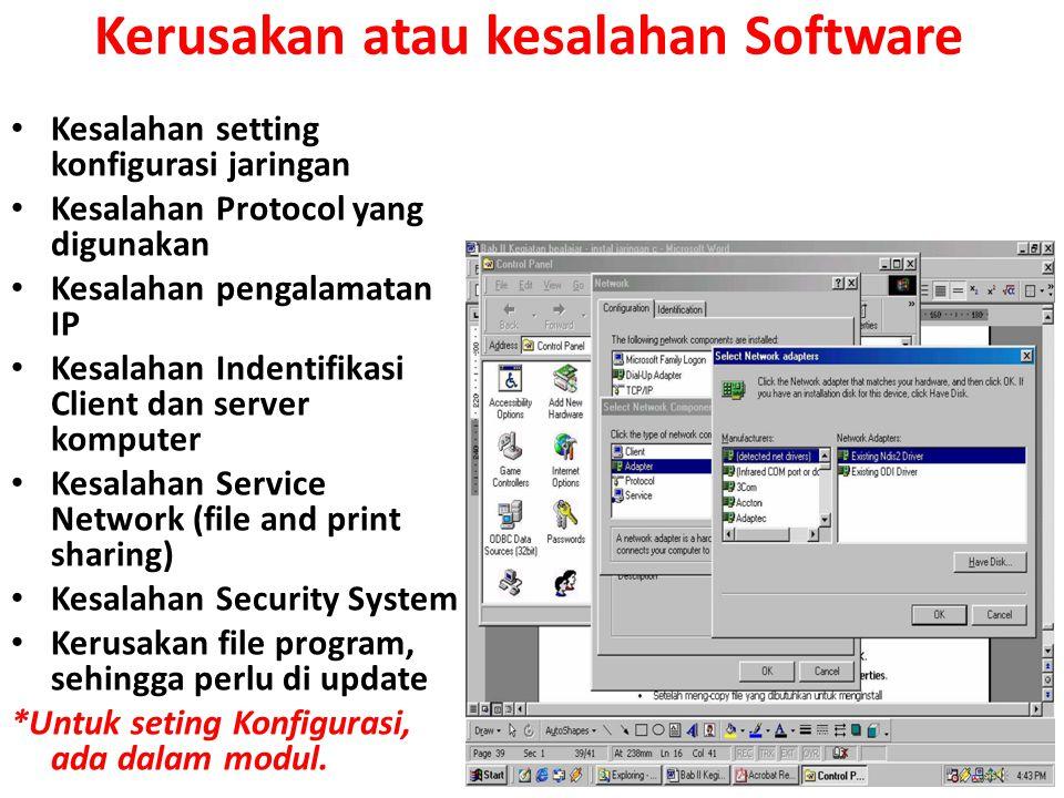 Kerusakan atau kesalahan Software