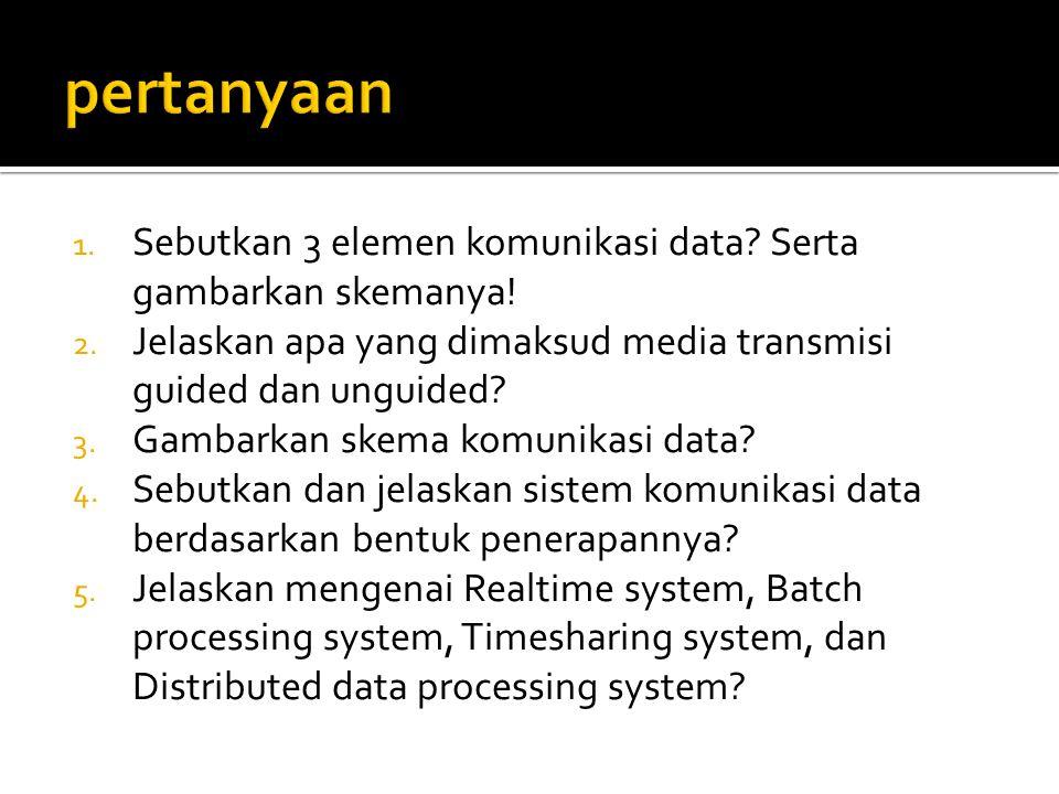 pertanyaan Sebutkan 3 elemen komunikasi data Serta gambarkan skemanya! Jelaskan apa yang dimaksud media transmisi guided dan unguided