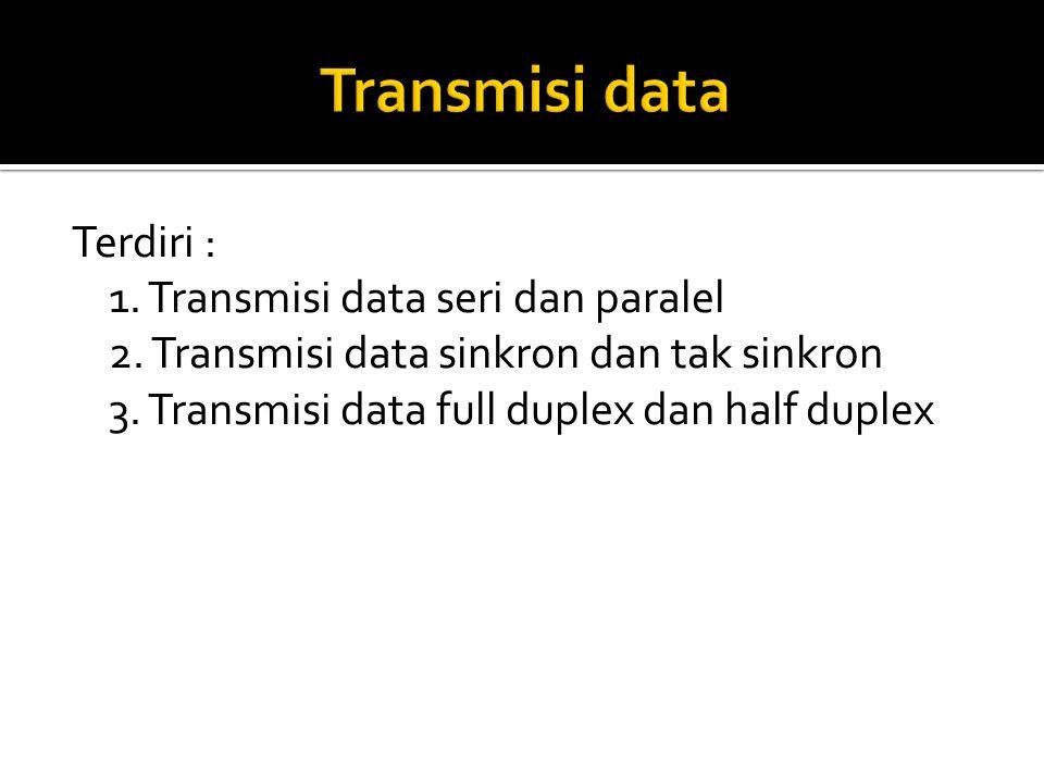 Transmisi data Terdiri : 1. Transmisi data seri dan paralel 2.
