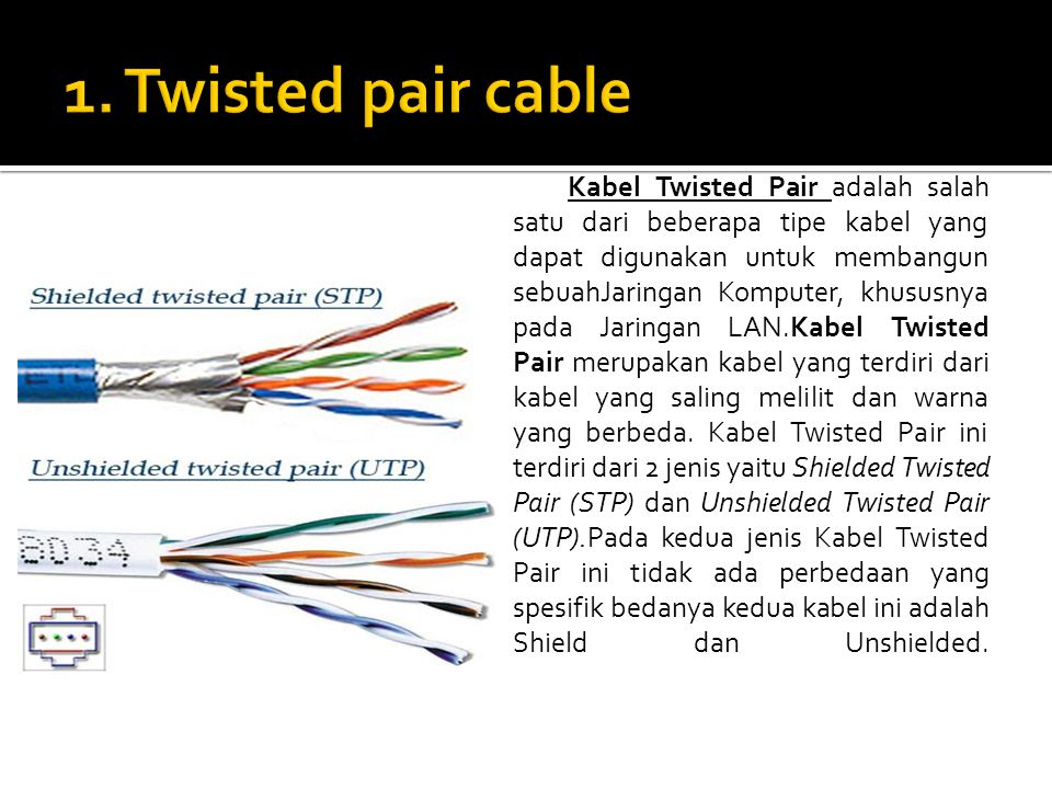 1. Twisted pair cable