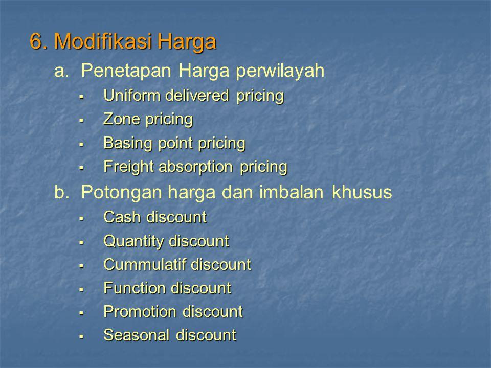 6. Modifikasi Harga a. Penetapan Harga perwilayah
