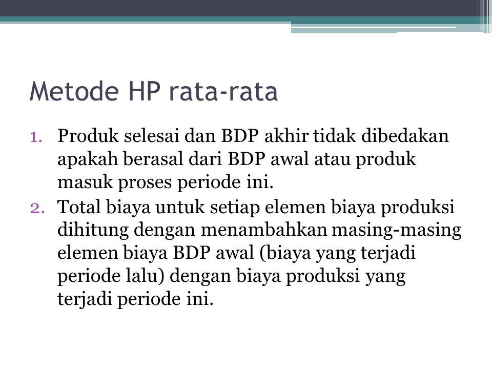 Metode HP rata-rata Produk selesai dan BDP akhir tidak dibedakan apakah berasal dari BDP awal atau produk masuk proses periode ini.