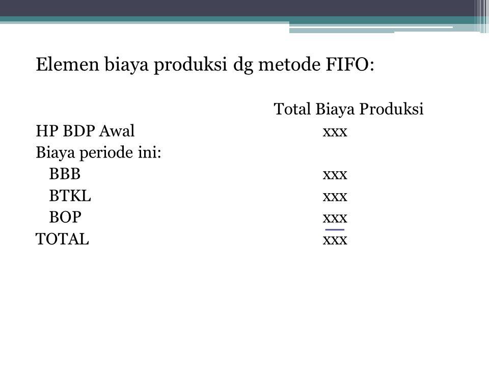 Elemen biaya produksi dg metode FIFO: