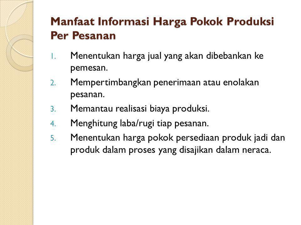 Manfaat Informasi Harga Pokok Produksi Per Pesanan