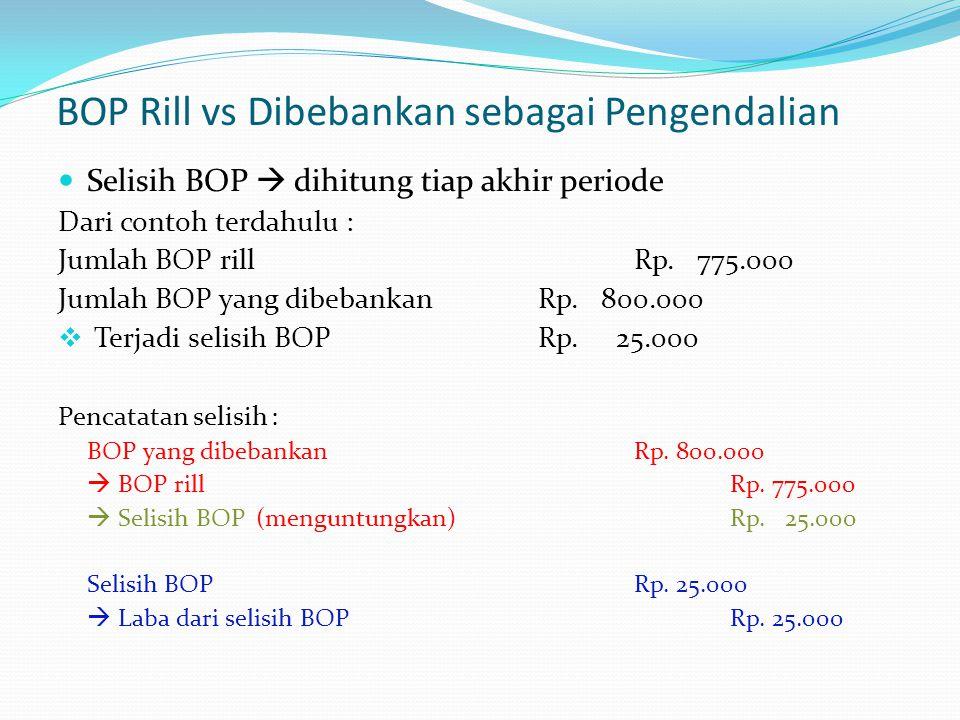 BOP Rill vs Dibebankan sebagai Pengendalian