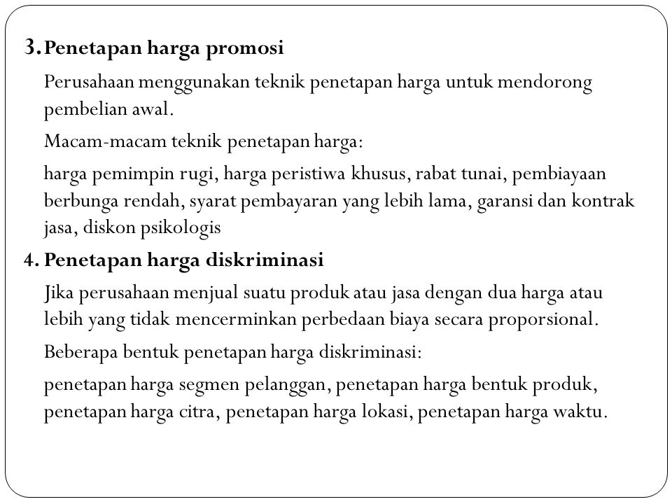 3. Penetapan harga promosi