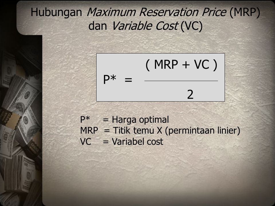 Hubungan Maximum Reservation Price (MRP) dan Variable Cost (VC)