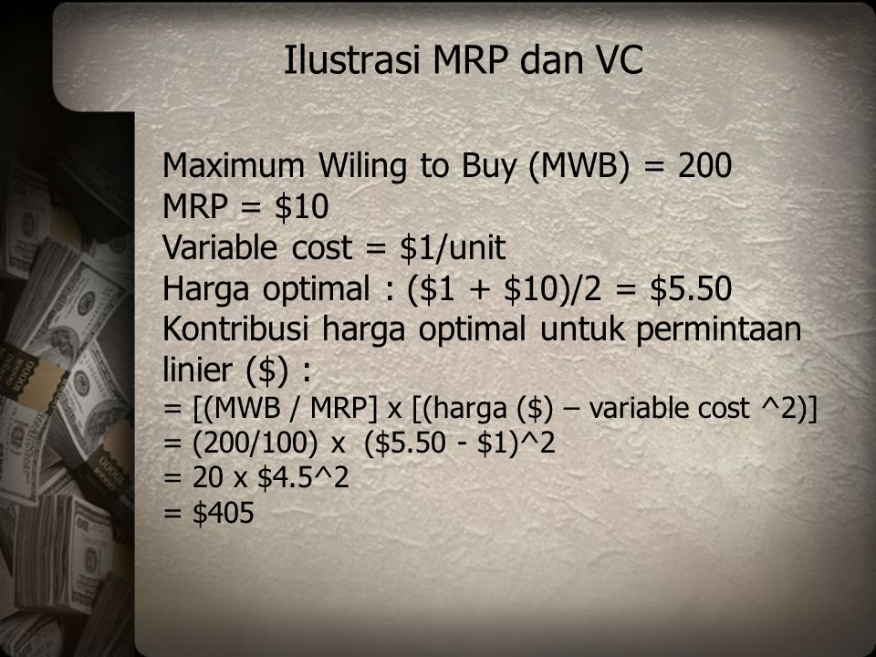 Ilustrasi MRP dan VC Maximum Wiling to Buy (MWB) = 200 MRP = $10