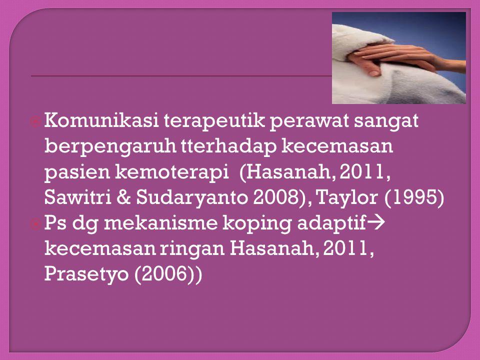 Komunikasi terapeutik perawat sangat berpengaruh tterhadap kecemasan pasien kemoterapi (Hasanah, 2011, Sawitri & Sudaryanto 2008), Taylor (1995)