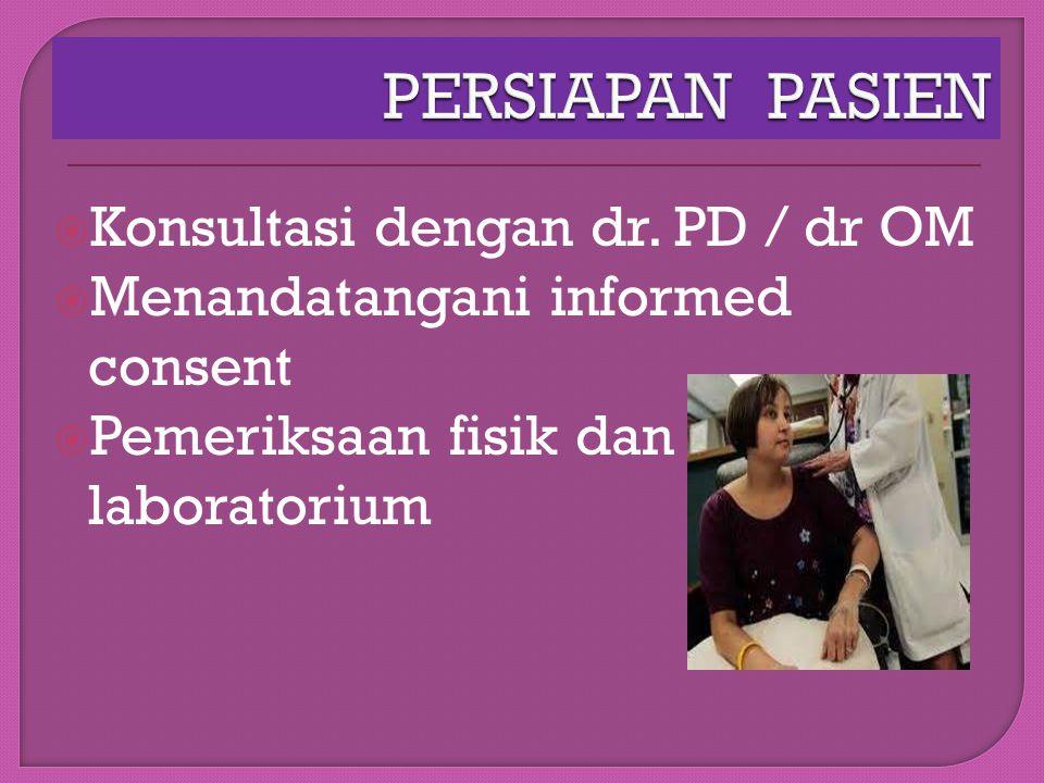 PERSIAPAN PASIEN Konsultasi dengan dr. PD / dr OM