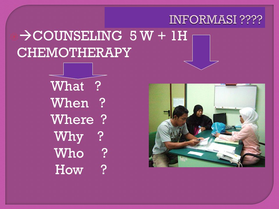 COUNSELING 5 W + 1H CHEMOTHERAPY What When Where Why Who