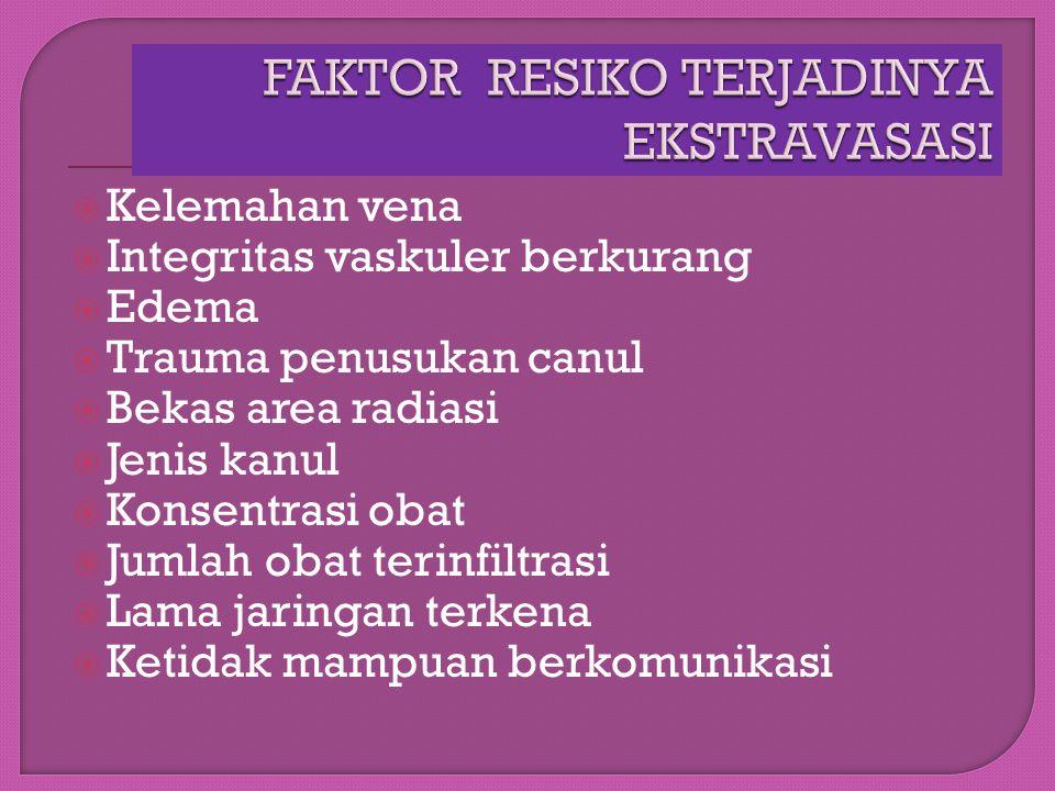 FAKTOR RESIKO TERJADINYA EKSTRAVASASI