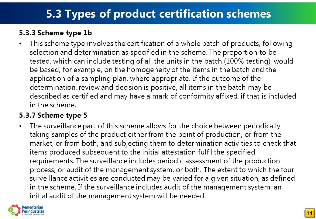 5.3 Types of product certification schemes