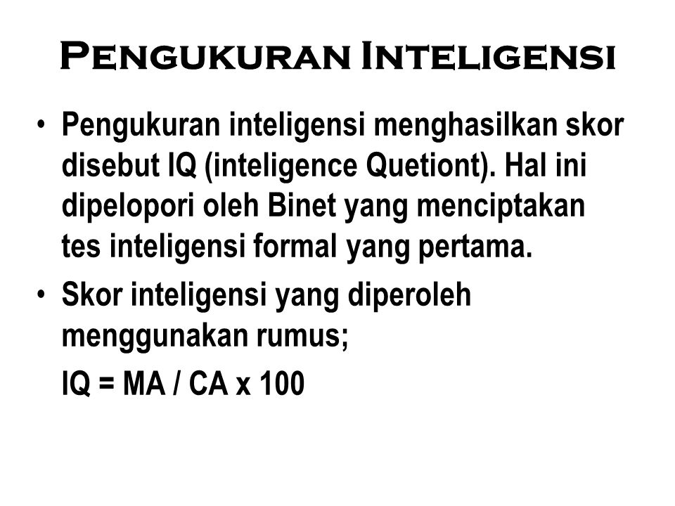 Pengukuran Inteligensi