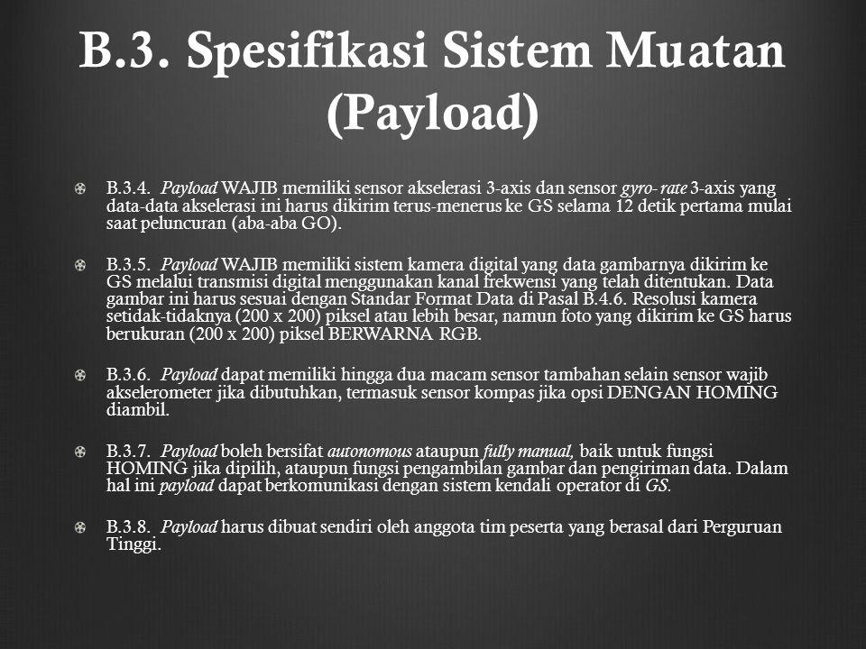 B.3. Spesifikasi Sistem Muatan (Payload)