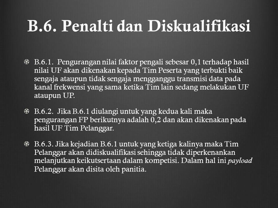 B.6. Penalti dan Diskualifikasi