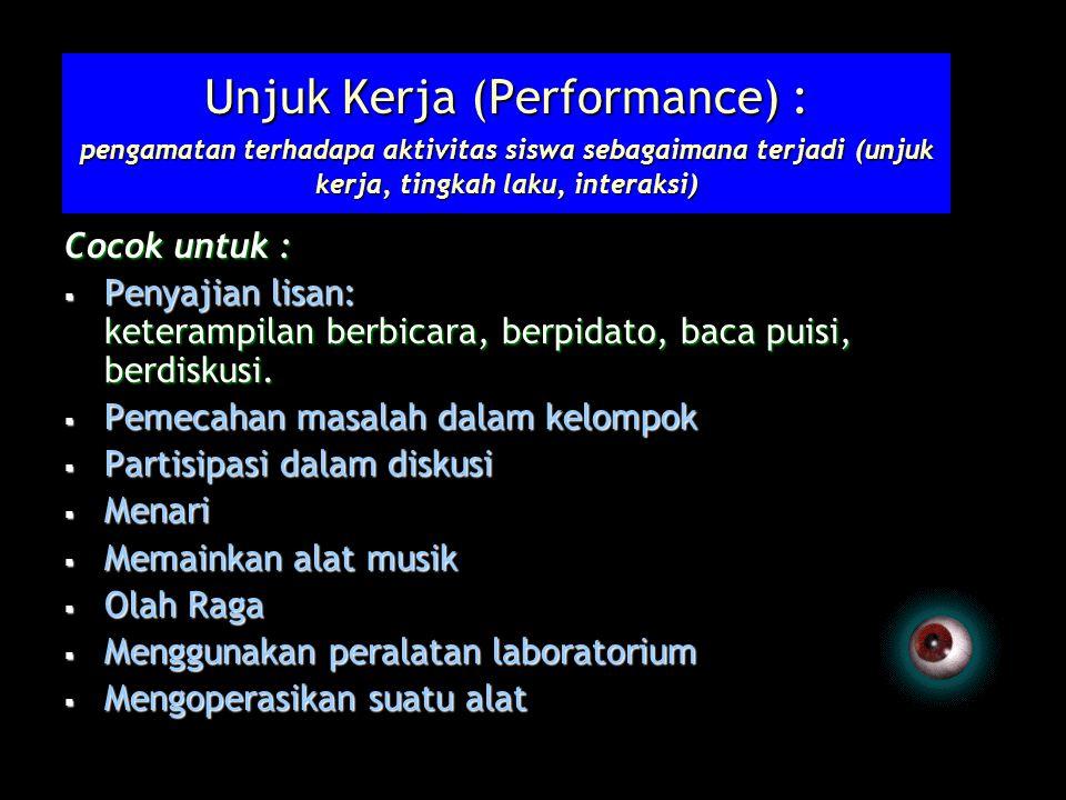Unjuk Kerja (Performance) : pengamatan terhadapa aktivitas siswa sebagaimana terjadi (unjuk kerja, tingkah laku, interaksi)