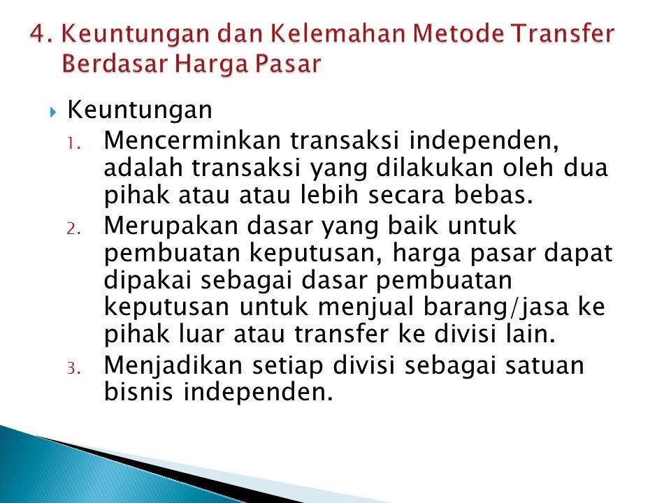 4. Keuntungan dan Kelemahan Metode Transfer Berdasar Harga Pasar