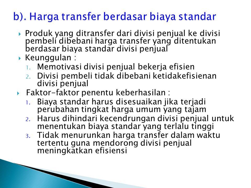 b). Harga transfer berdasar biaya standar